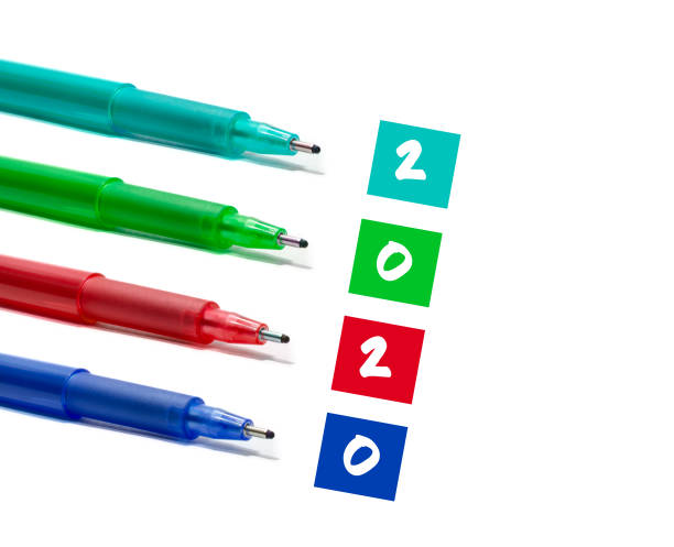 2020 colorful pen concept stock photo