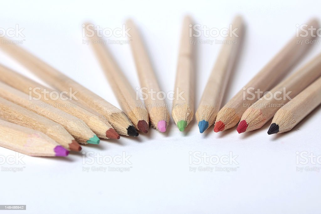 Colorful pencils agains white background stock photo