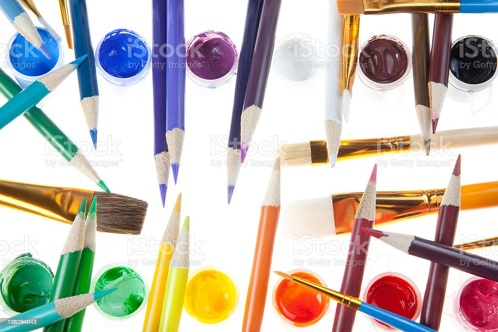 Colorful Pencils and Paint with Brushes stock photo