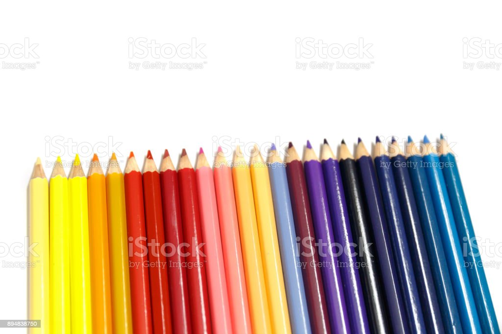Colorful Pencils for Kids Isolated on Whie Background stock photo