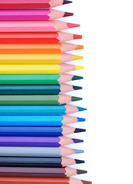 colorful pencils frame - coloured pencil stock photos and pictures