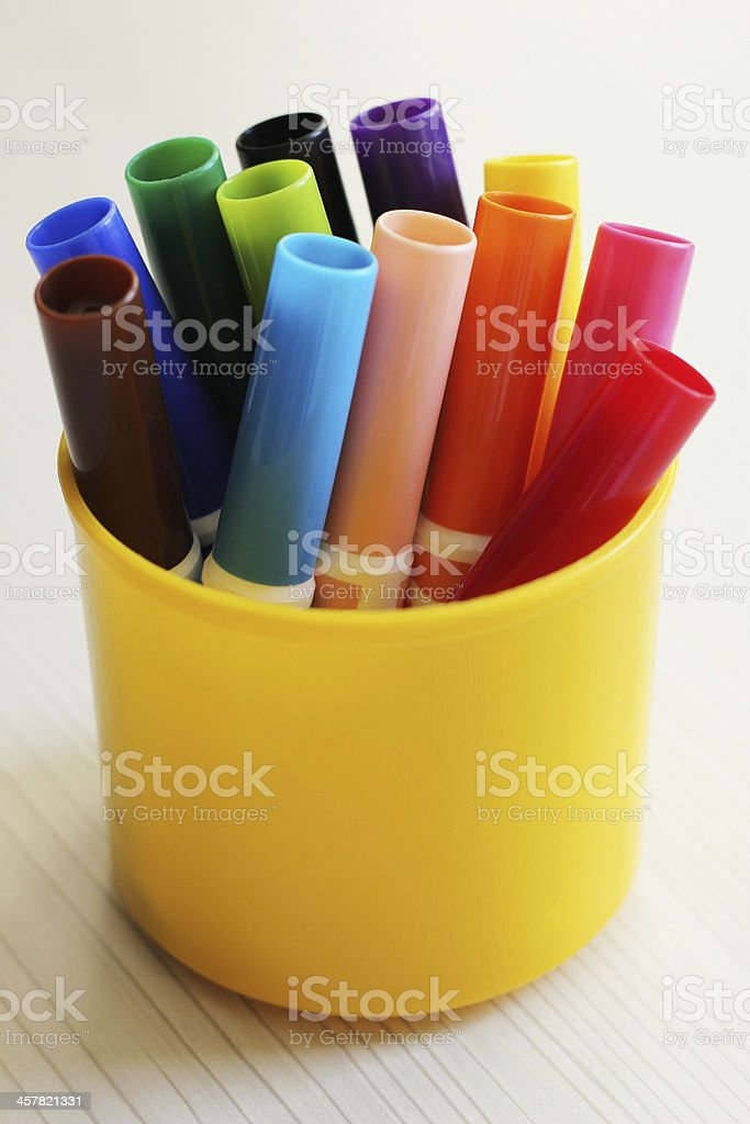 Colorful pencils in glass royalty-free stock photo