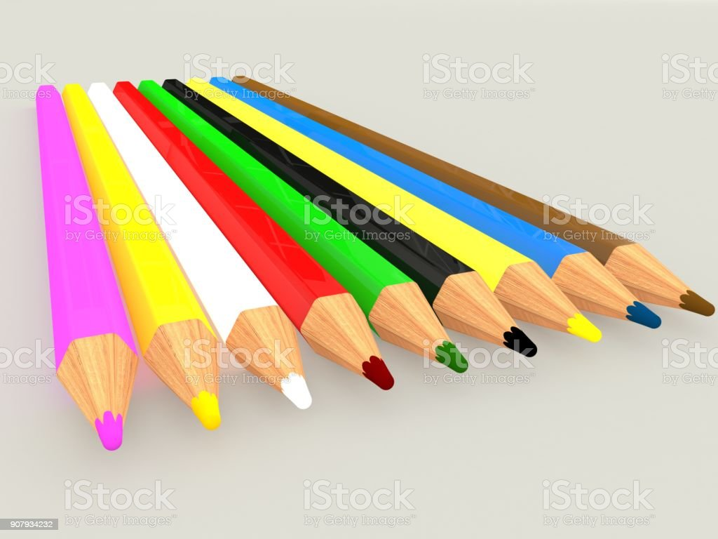 Colorful pencils, isolated on grey background. 3D rendering. stock photo