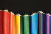 Color pencils isolated on Black background.Close up.