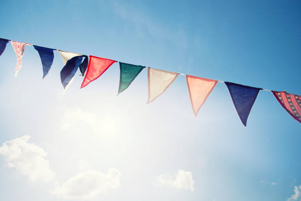 colorful pennants - school fete stock photos and pictures