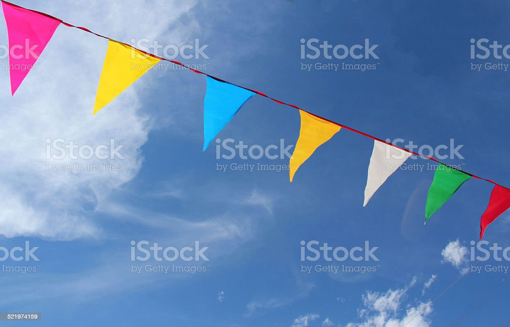 colorful pennants - Stock Image stock photo