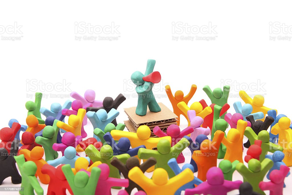 Colorful people figures staging a protest isolated on white stock photo