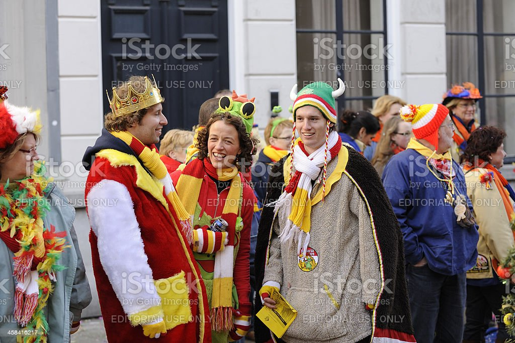 Colorful people watching the annual carnival parade in 's Hertogenbosch stock photo