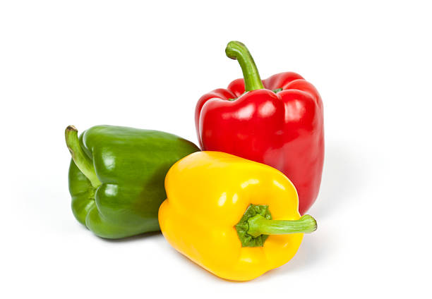 colorful peppers colorful bell peppers isolated on white background yellow bell pepper stock pictures, royalty-free photos & images