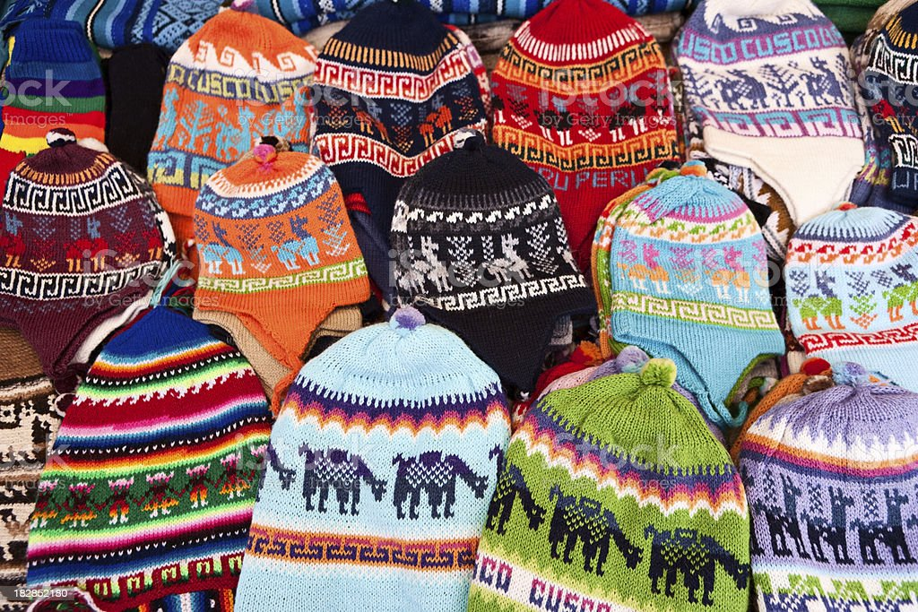 Colorful Peruvian fabrics, Sacred Valley of the Incas royalty-free stock photo