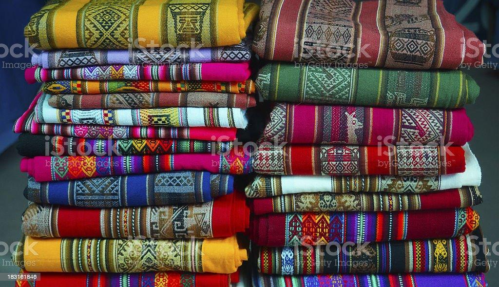 Colorful Peruvian textiles royalty-free stock photo