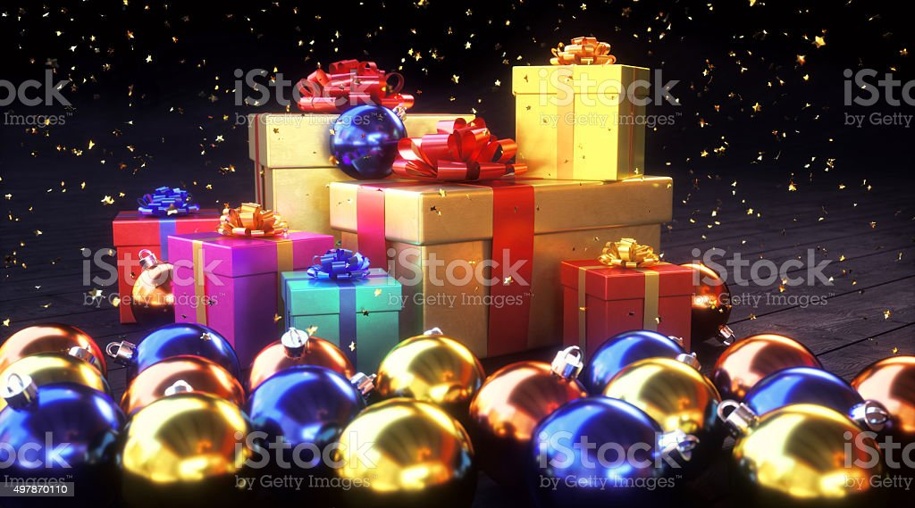 Colorful pile of gifts with Christmas decor stock photo