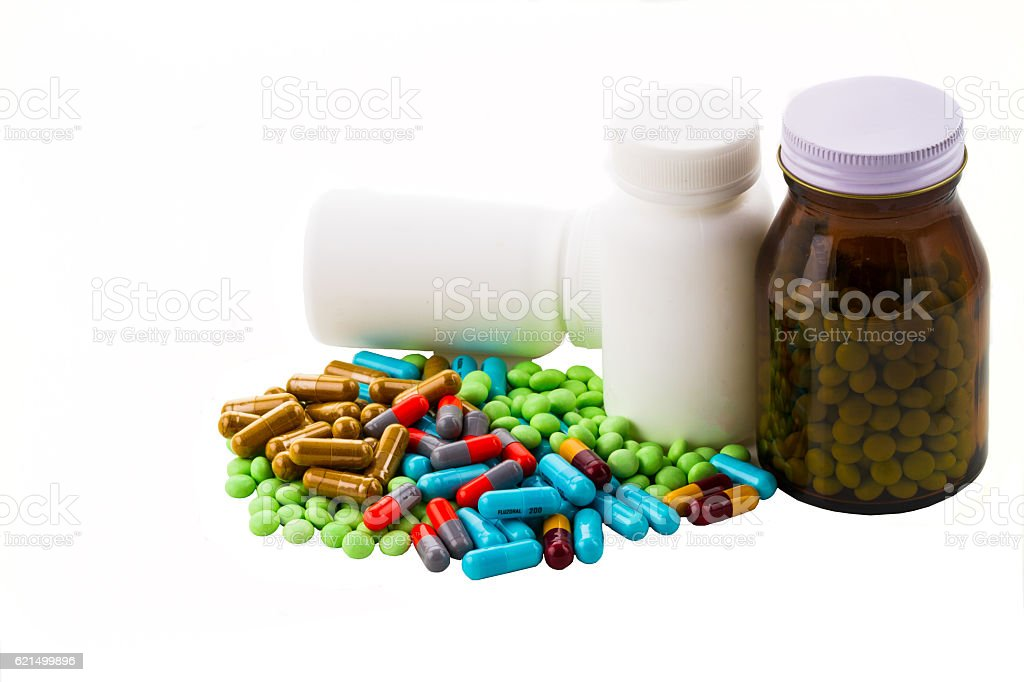 colorful pills and tablets on white background Lizenzfreies stock-foto