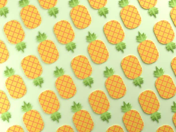 contexte alimentaire ananas coloré - design plat photos et images de collection