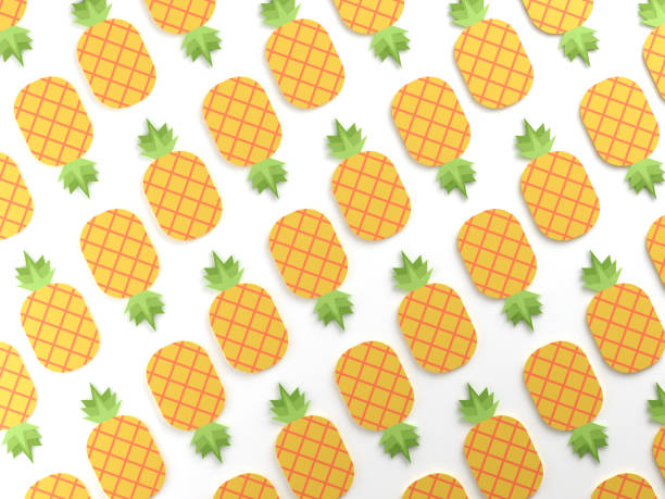 colorful pineapple food background - flat design stock photos and pictures