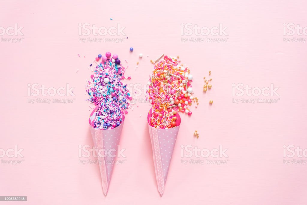 Colorful Pink And Purple Sprinkle Blends On A Pink