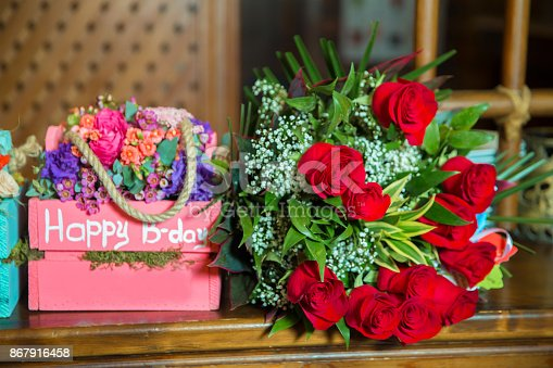 istock Colorful pink and red square bouquet. Happy b-day textures. Happy birthday 867916458