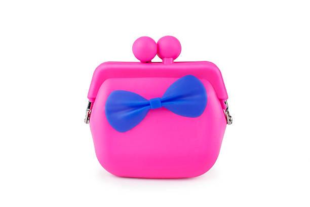 bunte rosa die silikonkautschuk-brieftasche isoliert - kinderhandtaschen stock-fotos und bilder
