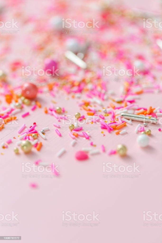 Colorful Pink Sprinkle Blend On A Pink Background Stock