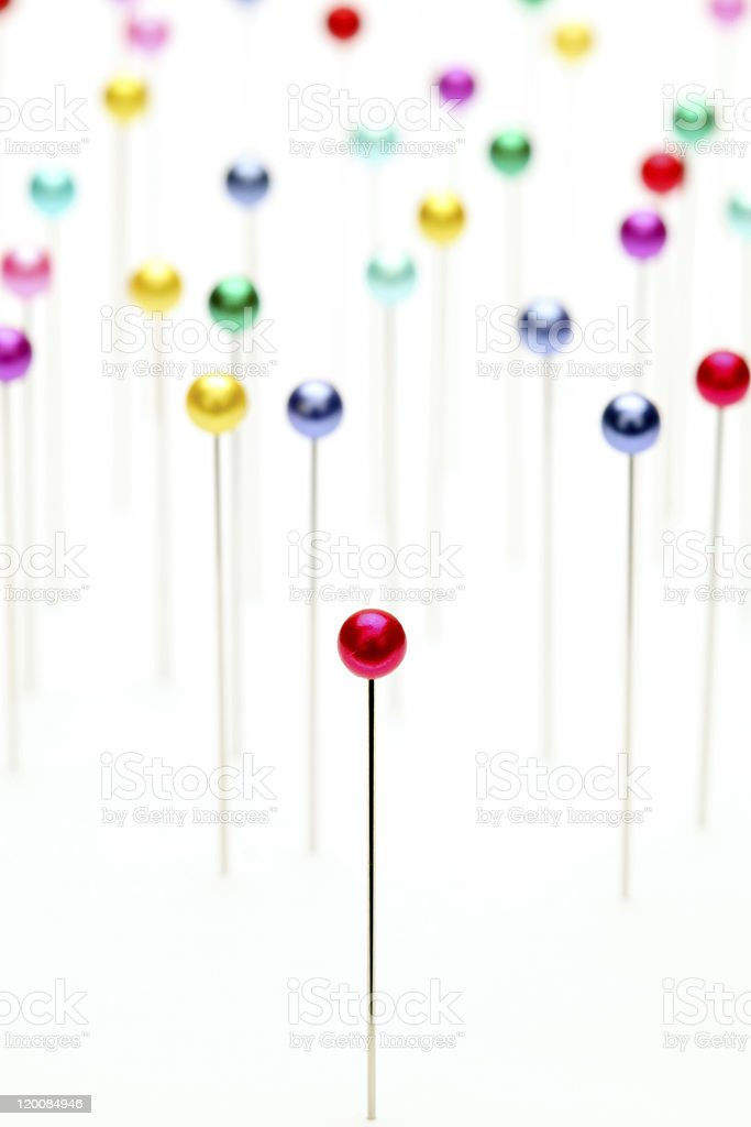 Colorful pins stock photo