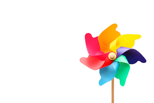 Colorful Pinwheel on White Background