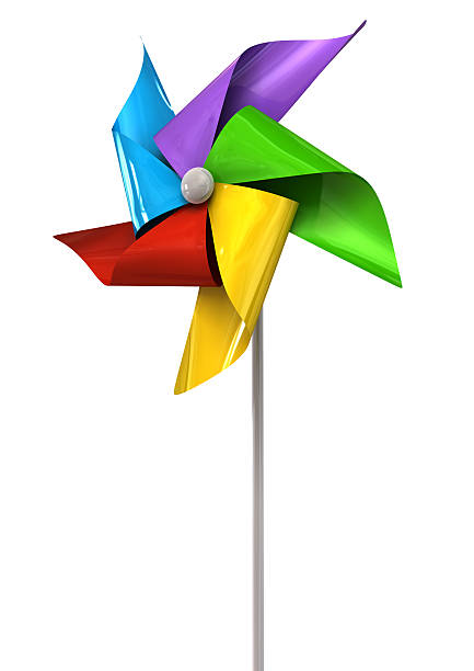 Colorful Pinwheel Perspective A perspective view of a regular toy pinwheel windmill with five differently colored vanes on a stick on an isolated background weather vane stock pictures, royalty-free photos & images