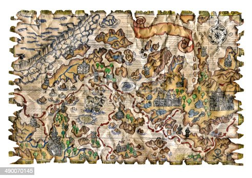 490314373 istock photo Colorful pirate map isolated 490070145