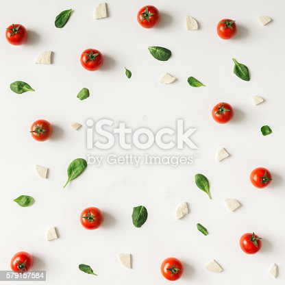 istock Colorful pizza ingredients pattern. 579157584