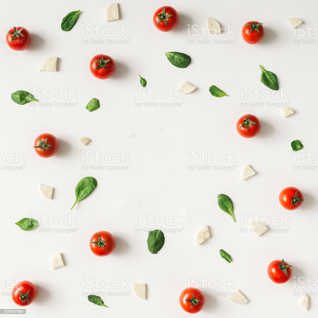 Colorful pizza ingredients pattern. stock photo