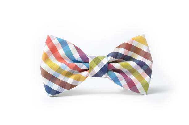 Colorful plaid bow tie stock photo