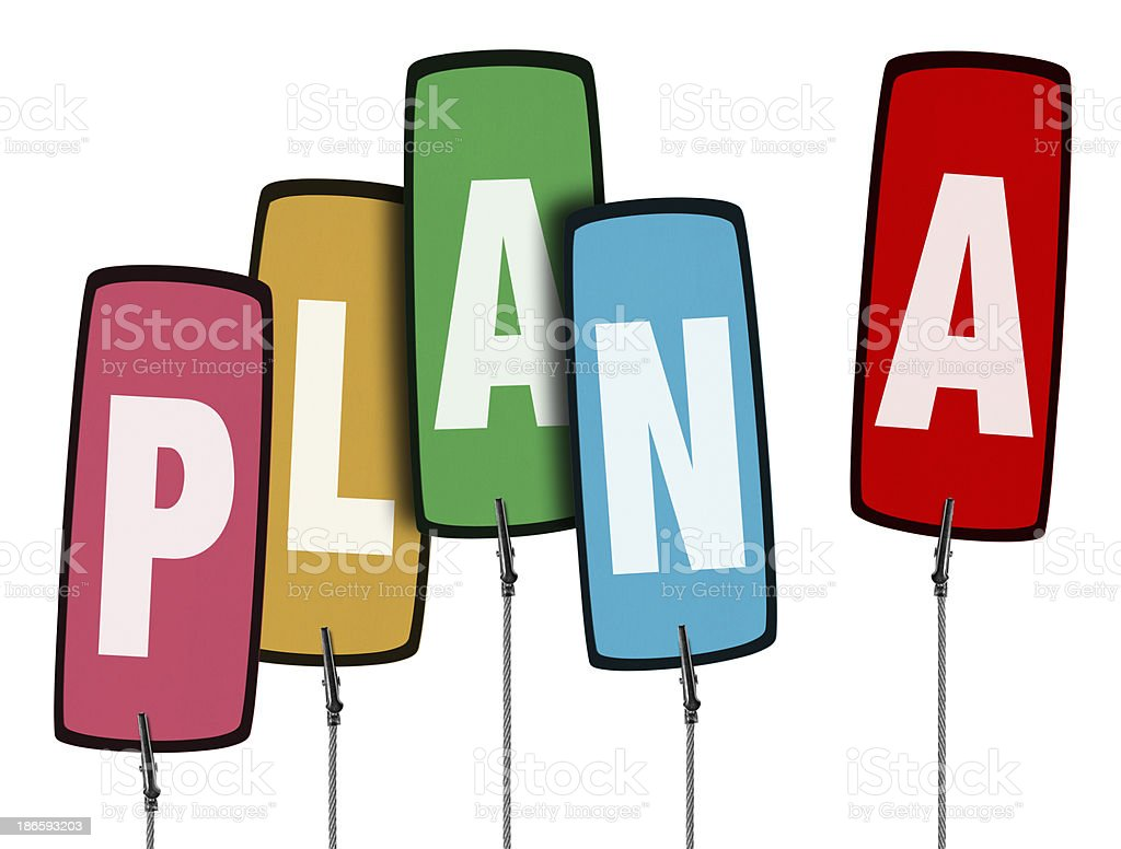 Colorful Plan A Tag  in Wire Clamp 4 (Clipping Path) royalty-free stock photo