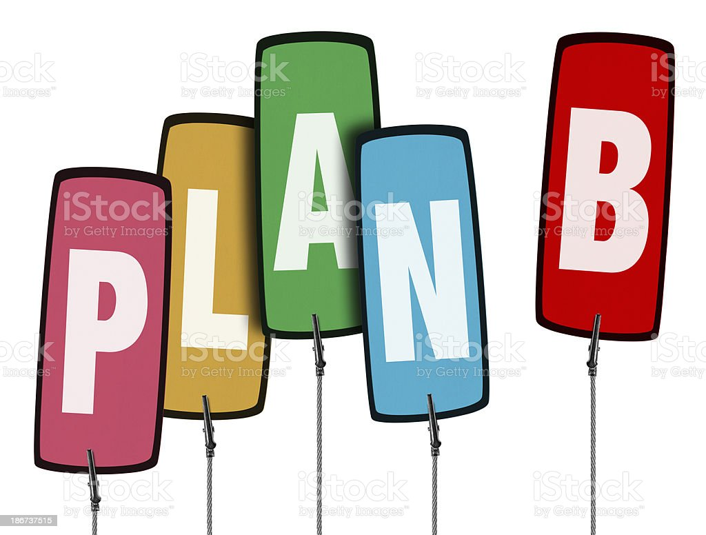 Colorful Plan B Tag  in Wire Clamp 4 (Clipping Path) royalty-free stock photo