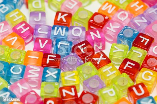 istock Colorful plastic beads with letters isolated on a white background. 931933996