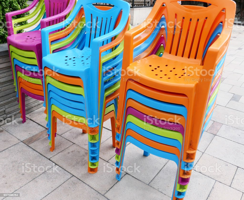 Colorful Plastic Chairs Stock Photo