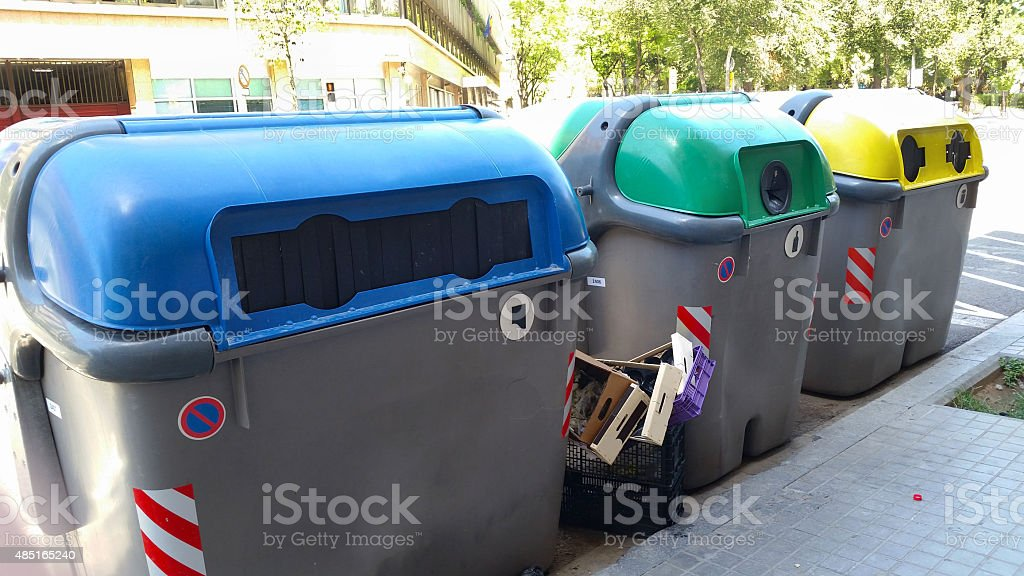 Colorful plastic containers in Barcelona stock photo