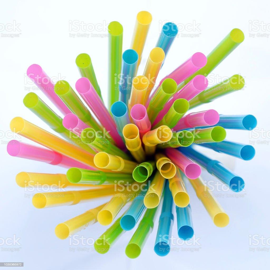 Colorful plastic drinking straws stock photo