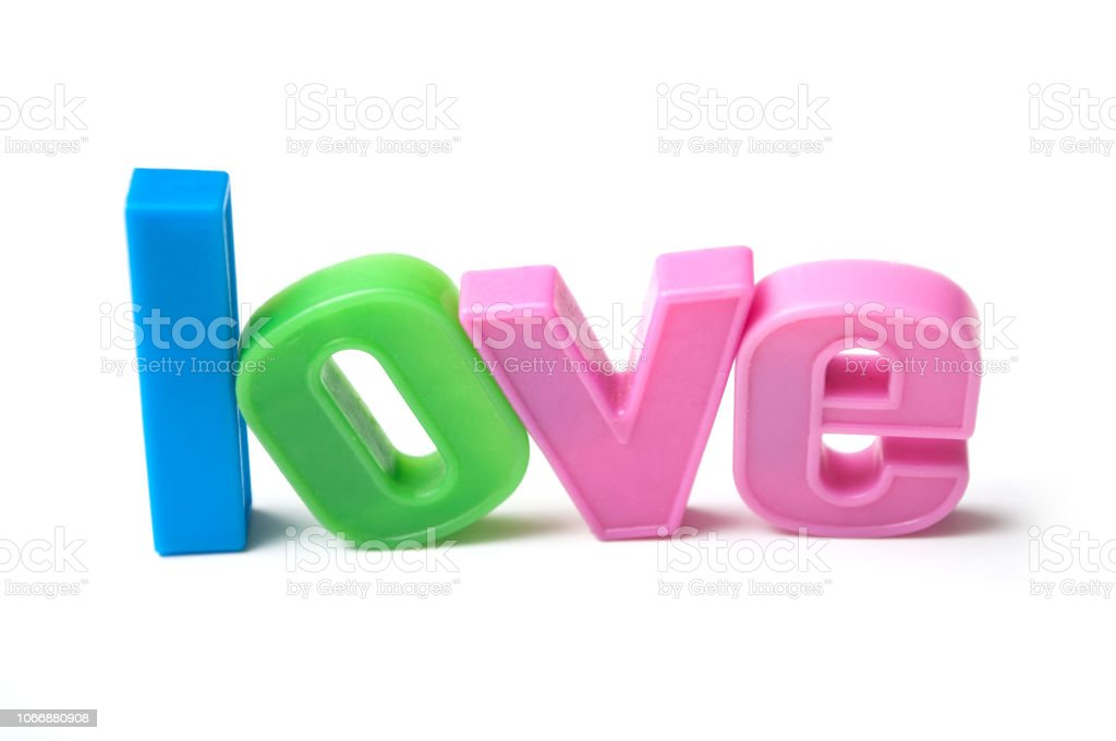 colorful plastic letters on white background - Love stock photo