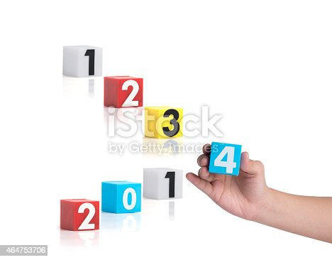 istock Colorful plastic of year numbers on a white background 464753706
