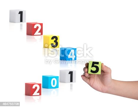istock Colorful plastic of year numbers on a white background 464753708
