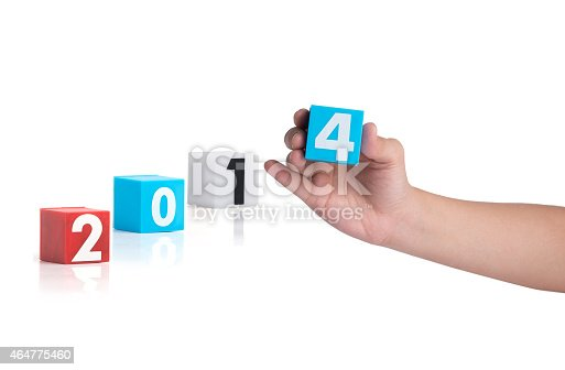 istock Colorful plastic of year numbers on a white background 464775460