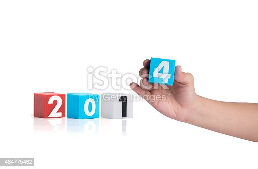 istock Colorful plastic of year numbers on a white background 464775462