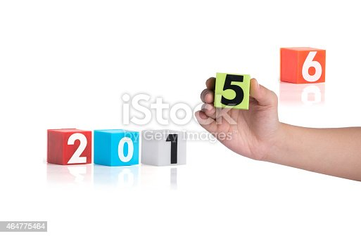 istock Colorful plastic of year numbers on a white background 464775464