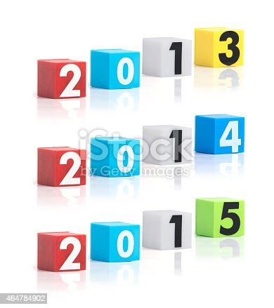 istock Colorful plastic of year numbers on a white background 464784902