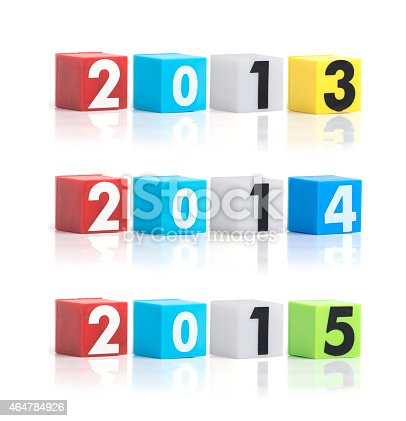 istock Colorful plastic of year numbers on a white background 464784926