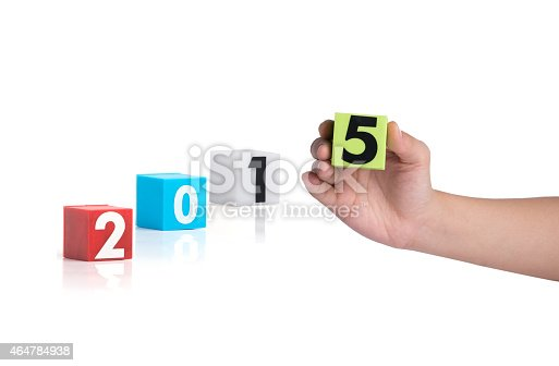 istock Colorful plastic of year numbers on a white background 464784938