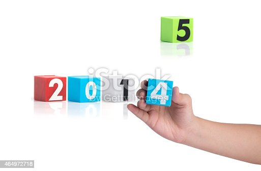 istock Colorful plastic of year numbers on a white background 464972718