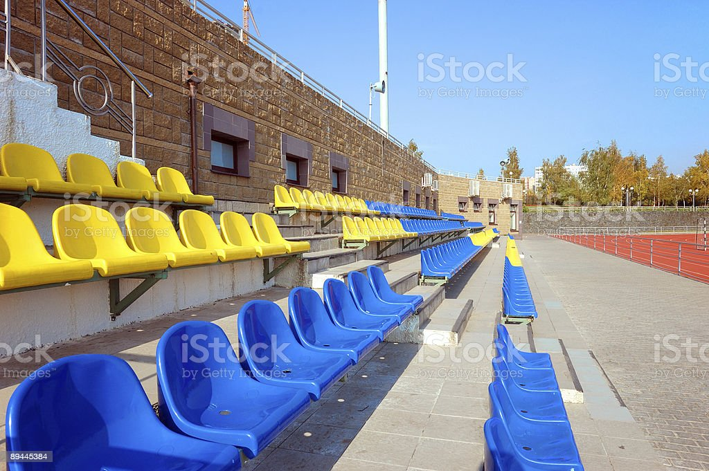 Colorful plastic seats royalty-free stock photo