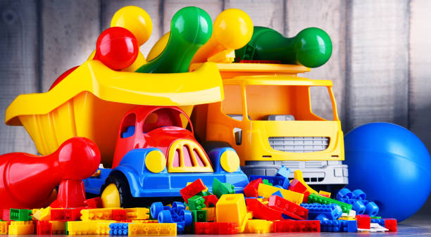 Colorful plastic toys in children's room – Foto