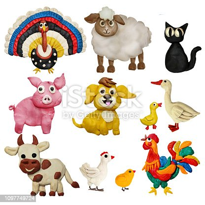 624869600 istock photo Colorful plasticine 3D farm animals pets   icons set isolated on white background 1097749724