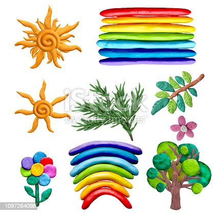 Colorful plasticine 3D nature objects   icons set isolated on white background